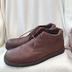 MENS ROCKPORT BROWN LEATHER BOOTS SIZE 12 W GREAT