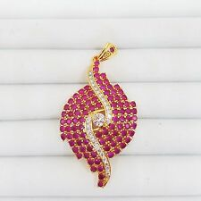 Beautiful Pink Pendant Gem Stone&Cubic Zircon Gold Plate (Imitation) Gift Women