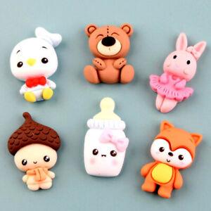 20pc Mixed Resin Cartoon Rabbit Fox Bear Animals Flatback Buttons Decorations