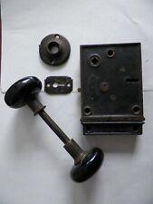 Antique BLW Branford Cast Iron Rim Lock Set Back Plate Black Knobs Keeper Works