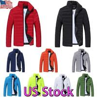 US Mens Puffer Bubble Coat Quilted Padded Jacket Winter Warm Full Zip Up Outwear