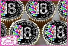 24 X 18TH BIRTHDAY BIRTHDAY  EDIBLE CUPCAKE TOPPERS RICE CAKE PREMIUM PAPER 9142
