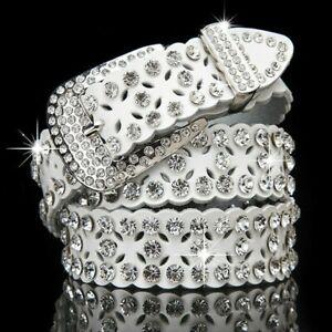 Lady Faux Leather Belt Bling Crystal Rhinestone Studded Hollow Waistband Glitter