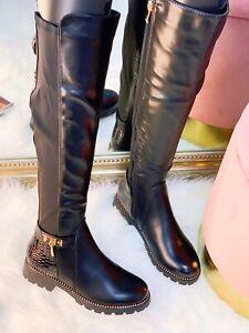 Women Knee High Flat Low Heel Ladies Zip Elastic Studded Stretch Leg Calf Boots