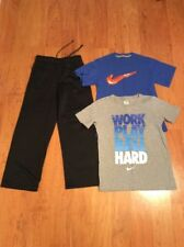 Nike Dri Fit Boys Youth Athletic Pants And Two Tshirt Black Gray Blue Size S