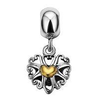 Women Nice Charms Gold Heart 925 Silver Bead For European Sterling Bracelet Diy