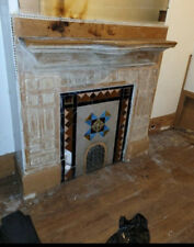 ~ Ornate Antique Oak Fireplace Mantel With Tile ~ 56 X 57 Architectural Salvage