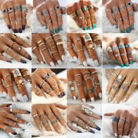 Women Silver/Gold Boho Stack Plain Above Knuckle Ring Midi Finger Rings Jewelry