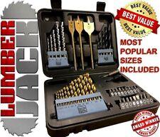 46 Piece Drill Bit Set HSS Masonry Metal Wood Flat Pozi Bits Countrsink & Case