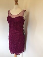Adrianna Papell Dress UK 18 Purple Lace Sheer Neckline Party Cocktail Glamour