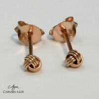 18ct Rose Gold on 925 Sterling Silver Stud Earrings Celtic Knot New inc Gift Bag
