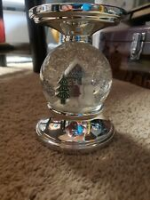 Bath And Body Works 3 Wick Candle Snowglobe Pedestal holder snowman gingerbread