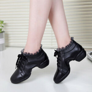 Womens Jazz Dance Shoes Latin Tango Ballroom Leather Low Top Strappy Ankle Boots
