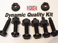 6 CAR NUMBER PLATE BLACK NYLON SCREWS BOLTS  NUTS FIXINGS CHERISHED REGISTRATION