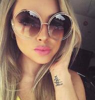 Retro Fashion Stylish XXL Large Oversized Chic Womens Circle Round Sunglasses