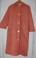 Vintage Quilted House Robe 40s Mother of Pearl Buttons Mauve Xl Handmade