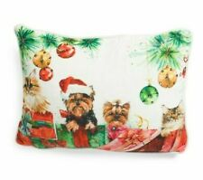 "Marlo Lorenz Velvet Christmas Pillow Yorkie Terrier Puppy Dog Kitty Cats 14""x18"""