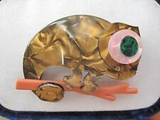 Colourful & Fun Brown Shades Lucite Chameleon Brooch/Pin - NEW DESIGN!