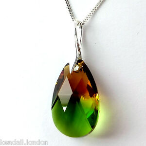 Sterling Silver Crystal Pear Drop Necklace Made with Swarovski Elements