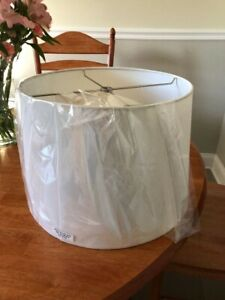 """Hardback Drum Off White Linen Lampshade 13x14.5x10"""" for Table Lamp"""