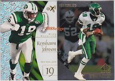 (2) E-X 2001/SP AUTHENTIC BASE CARD LOT:KEYSHAWN JOHNSON #19/141 CLEAR ACETATE