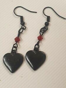 Black Love Heart Drop Dangle Earrings Bead Detail Gothic Emo Punk Vintage