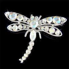 w Swarovski Crystal Clear ~DRAGONFLY~ Bridal wedding Bouquet Pin Brooch Gift New