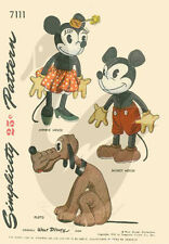 Reproduction Vintage Mickey & Minnie Mouse & Pluto Doll Sewing Pattern