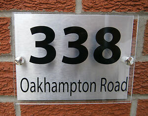 HOUSE SIGN/PLAQUE - 200x150mm - QUALITY ACRYLIC + BRUSHED ALUMINIUM BACKPLATE