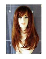 Cosplay long Copper Red Mixed Straight Wig  +gift cap AE168