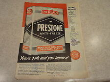 "1945 Prestone Anti-Freeze Vintage Magazine Ad ""You're safe and you know it"""