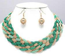 Green & Gold Mesh Braided Magnetic Closure Fashion Necklace Earrings  Set