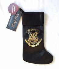 NEW Harry Potter Hogwarts Crest Black Velvet Feel Christmas Stocking Gift Sack