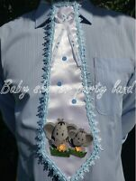 "BABY SHOWER DAD TO BE TIE ""IT'S A BOY"" ELEPHANT BLUE RIBBON Corsage Pin Sash"