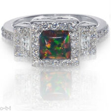 Princess Promise Engagement Australian Black Fire Opal CZ Sterling Silver Ring