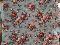 VIntage 1940s Large Floral 8 Yards Barkcloth Floral Midcentury Modern Drapery
