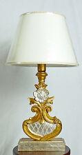 Lampada da tavolo antica legno colore foglia oro argento paralume italy art.686