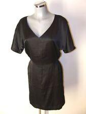Schwarzes Satin Glanz Kleid Größe 36 - 38 schimmernd weicher Stoff I24