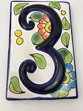 Talavera Tile House Number 3 Ceramic Mexican House Number Tile Decor Home