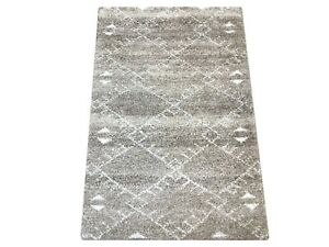 2X3 Beige Modern Moroccan Hand-Knotted Wool Area Rug Small Oriental Carpet