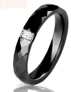 Ring Schwarz Keramik mit  CZ Kristallen  (0)