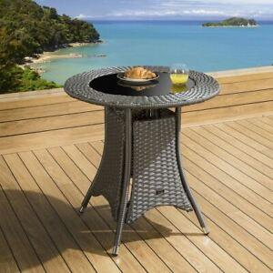 Luxury Garden Outdoor Round Dining Table Grey Rattan 750mm Glass Top