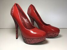 Ladies BNIB Red Platform Stiletto High Heel Shoes Pumps Pole Essex Sz 3/3.5, 36