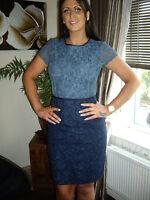NEXT 14 PETITE  BLUE NAVY JACQUARD LACE  PENCIL COLOUR BLOCK DRESS RRP £75!