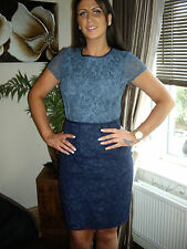NEXT 12 TALL  BLUE NAVY JACQUARD LACE  PENCIL COLOUR BLOCK DRESS RRP £75!