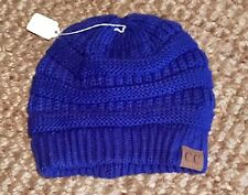 New Exclusive Adult CC Beanie Royal Blue Cable Knit