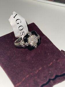 $1,500 LAGOS 925 Silver 925 Diamond Black Ceramic Caviar Square Ring 0.25ct  7