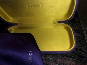 New Gucci Sunglasses Eyeglasses Velvet Purple Yellow Case whit Satin Pouch