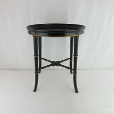 Vtg Black Faux Bamboo Regency Style Round Drinks Table Small Size Occasional