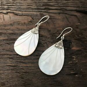 Pear shaped Mother Of Pearl Drop Earrings With Etched Design & 925 Sterling Silv